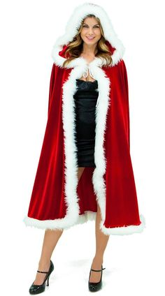 Sexy Christmas Costumes For Women A Christmas Long Velvet Cape with white fur trimming Christmas Accessories Cape Costumes For Women, Rouge Velvet, Red Velvet, Cosplay, Wedding Sweater, Santa Outfit, Hooded Cloak, Jolie Lingerie, Vestidos