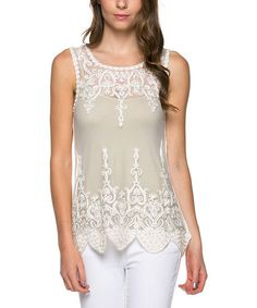 Love this Pearl White Sheer Lace Sleeveless Top by Khloe Collection on #zulily! #zulilyfinds