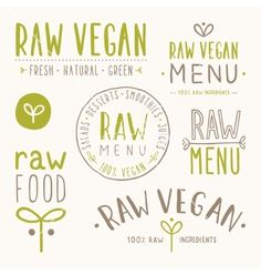 Raw vegan badges vector logo - by kondratya on VectorStock®