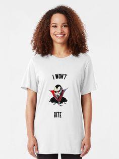 """I won't bite - Halloween "" T-shirt by equilibrum08 | Redbubble Chiffon Tops, Classic T Shirts, T Shirts For Women, Halloween, Stuff To Buy, Dresses, Fashion, Vestidos, Moda"