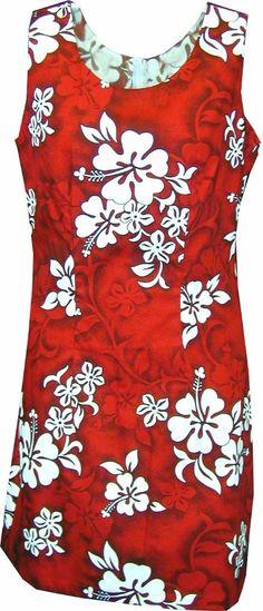 White Hibiscus Ladies Hawaiian Print Tank Dress Red, Womens Tropical Hawaiian Tank Dresses, 315-3156_Red