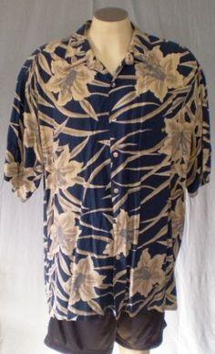Tori Richard Blue 2XL Hawaiian Shirt Floral Print Rayon #ToriRichard #Hawaiian