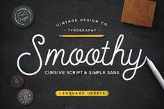 Cursive Script & Sans by Vintage Design Co. SMOOTHY is a 2 font family with a mono weight cursive script and a complementary subtly rounded sans-serif. Cursive Script, Handwritten Fonts, Calligraphy Fonts, Design Typography, Typography Fonts, Script Design, Font Art, Creative Typography, Oregon