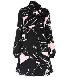 Valentino - Printed cady silk dress - For pre-Fall 17, Valentino revisits a vintage classic – the panther motif was first presented for Haute Couture collection in 1968, and has been reinterpreted here for a modern approach to the little black dress. Crafted in Italy from luxurious cady silk, this style balances a flared, shorter skirt with a modest and feminine pussy bow and long sleeves. Team yours with kitten heels for a a sleek, feline-inspired look. seen @ www.mytheresa.com