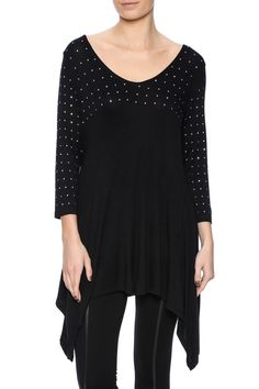 Nothing wrong with a little glam and glitz, as this lightweight 3/4 sleeve sweater is studded up top with crystals giving way to a solid black shark bite bottom.   Crystal Cascade Sweater by Talk of the Walk. Clothing - Tops - Long Sleeve Atlantic City, New Jersey New Jersey