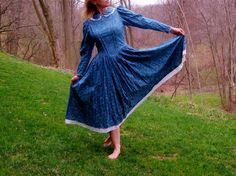 Vintage Prairie Pioneer Dress Smoky Blue Floral by TaborsTreasures, $85.00