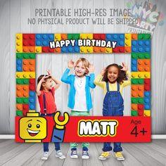 Lego Photo Booth Frame Lego Birthday Party by NYCPartyPrintables Happy Birthday Matt, Boy Birthday, Lego Duplo, Lego Ninjago, Lego Party Decorations, Lego Themed Party, 5th Birthday Party Ideas, Ideas Party, Ninjago Party