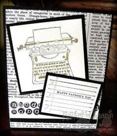Get Ready For Father's Day or any day. This Tap Tap Tap set is sure to please anyone who has ever used a typewriter. Definitely a way to travel back in time. Visit Rachel's Stamping Place for all the details of how to make this card.