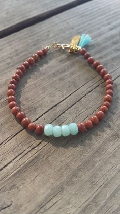 Goldstone and Amazonite Bead Bracelet for everyday wear, in my Etsy shop https://www.etsy.com/listing/295235147/semi-precious-goldstone-and-amazonite
