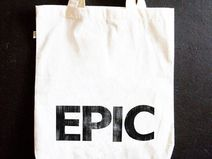 EPIC cotton tote- white printed bag, cool printing, everyday use, handmade cotton shopping bag - a unique product via en.dawanda.com