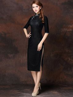 Black Grid Velour Qipao / Cheongsam Dress with Half Sleeves