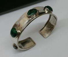 Vintage Armschmuck - Armreif Silber 925 Handarbeit Malachit rar SA210 - ein Designerstück von Atelier-Regina bei DaWanda