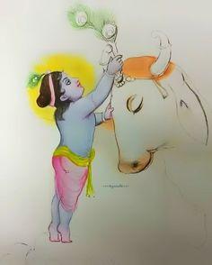 Bal Krishna, Krishna Statue, Radha Krishna Photo, Krishna Art, Lord Krishna, Lord Shiva Painting, Krishna Painting, Cow Painting, Garden Painting