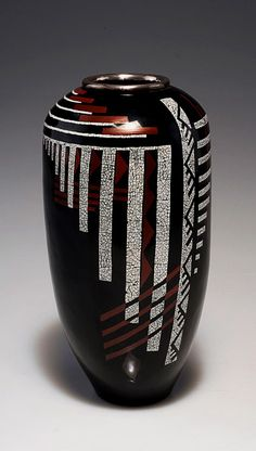 Jean Dunand geometric eggshell inlay lacquered metal vase.