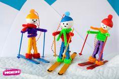 Heb je ook zo'n zin in een wintersportvakantie? Of ben je nog op zoek naar een leuke winterknutsel? Wat denk je dan van deze kleurrijke skiers? Materialen per skier: Stap 1: Haal de wasknijpe…