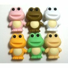 """Iwako Frog Erasers - 6 Colors by Iwako. $9.50. REWARDS, GIFTS, INCENTIVES. 6 Colors frog erasers by IWAKO. MADE IN JAPAN NON PVC NON LEAD. COLLECTIBLE. TAKE APART DESIGN. Authentic IWAKO Don't be fooled by Chinese fakes that are NOT eco friendly and may contain toxic materials!! Make sure your erasers say""""MADE IN JAPAN"""""""