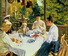 ~ Konstantin Alekseevič Korovin ~ Russian artist, 1861-1931: At The Tea-table