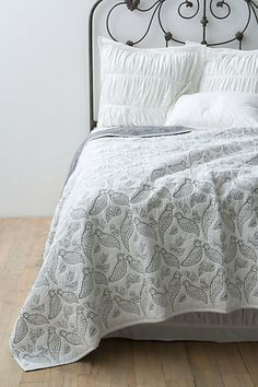 Aviary Coverlet from Anthropologie. Saved to Dream House. Shop more products from Anthropologie on Wanelo. Dream Master Bedroom, Home Bedroom, Bedroom Decor, Bedroom Ideas, Bedroom Fun, Bedroom Inspiration, Interior Inspiration, White Coverlet, White Bedding