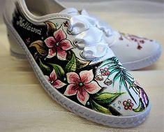 zeiko / maľované tenisky dámske Hand Painted Dress, Textiles, Sneakers, Painting, Clothes, Shoes, Fashion, Tennis, Outfits