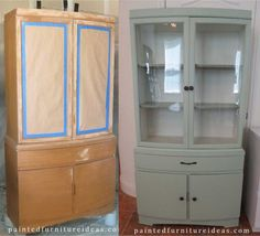 Hutch Refinished in Light Sage  DIY
