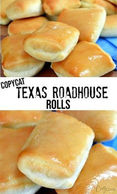 Copycat Texas Roadhouse Rolls Copycat Texas Roadhouse Rolls This Easy Texas Roadhouse Rolls recipe tastes just like the restaurant version! Pair it with some honey butter and you have a perfect side dish! Texas Roadhouse Rolls, Texas Roadhouse Butter, Copycat Recipes Texas Roadhouse, Homemade Dinner Rolls, Homemade Breads, Dinner Rolls Easy, Homemade Crescent Rolls, Homemade Food, Bread Machine Recipes