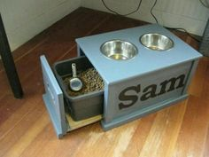 Pet feeding station from file drawer. Clever!!