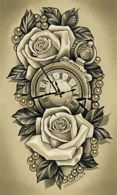 ✔ Tattoo Rose Realistic Colour - ✔ Tattoo Rose Realistic Colour You are in the ri - Clock Tattoo Design, Tattoo Design Drawings, Floral Tattoo Design, Flower Tattoo Designs, Tattoo Sketches, Half Sleeve Tattoos Sketches, Tattoos For Women Half Sleeve, Best Sleeve Tattoos, Tattoo Sleeve Designs