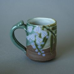 handmade stoneware left-handed mug with lavender wisteria in Japanese/ Art Nouveau style