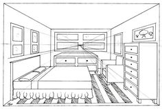 Bedroom 1 point by Madhavi on DeviantArt Interior Architecture Drawing, Architecture Drawing Sketchbooks, Drawing Interior, Interior Design Sketches, One Point Perspective Room, 1 Point Perspective Drawing, Perspective Images, Bedroom Drawing, Art Education Projects