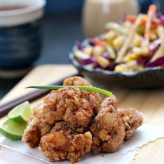 Spicy chicken karaage and apple-cabbage salad with sesame dressing