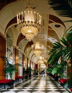 Art Deco - Silver Corridor in the Waldorf=Astoria Hotel in NYC. The ceiling is magnificent.