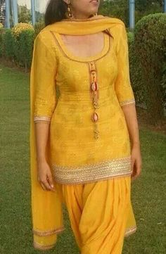 pretty yellow patiala suit