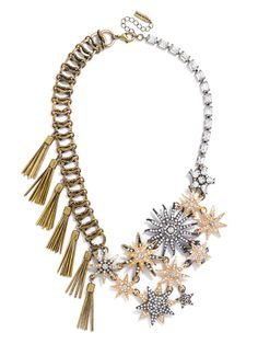 This+asymmetrical,+mixed-media+bib+allows+our+star+motif+to+shine+among+textured,+rustic+metals. Love this new Tassel Galaxy Bib by @baublebar