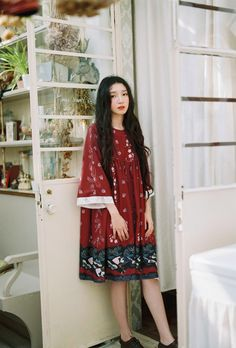 DEAR栗森女风原创复古文艺手绘东方和风宽松七分袖圆领开衫连衣裙-淘宝网