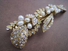 Bridal Barrette Gold pearl and rhinestone wire wrapped bridal hair barrette clip