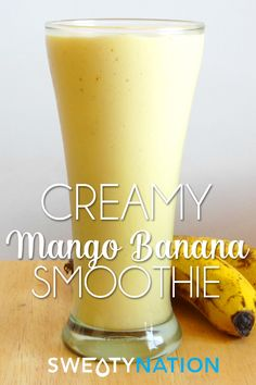 Creamy Mango Banana Smoothie - a deliciously thick gluten-free smoothie recipe that tastes as good as a milkshake!