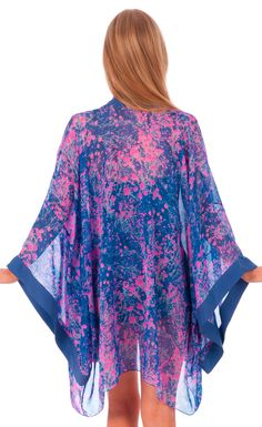Tahiti Plage kimono by Liz Nehdi, back view   part of our Brigitte collection of luxe resortwear