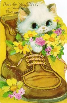 Vintage Kitty Birthday Card