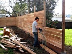 Wide Wooden Plank DIY Fence