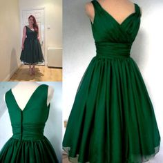 Emerald Green 1950s Cocktail Dress Vintage Tea Length Plus Size Chiffon Overlay Elegant Cocktail Party Dress from Magicdress2011,$75.4 | DHgate.com