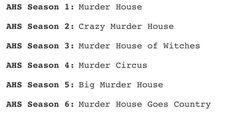 These alternative titles for each season.