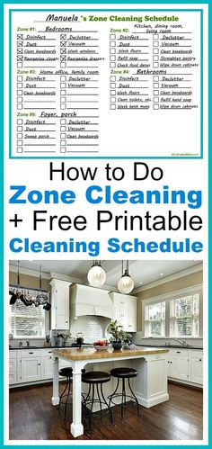 'How to Do Zone Cleaning + Free Printable Zone Cleaning Schedule...!' (via A Cultivated Nest)
