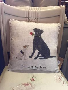 """It Must Be Love!"" Labrador & Jack Russell Terrier Cushion Linen Mix"
