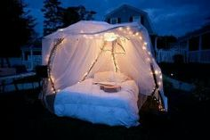 Sparkling fairy lights + chiffon-draped canopy bed + cool night air + GUITAR = most romantic evening ever Outdoor Spaces, Outdoor Living, Outdoor Decor, Outdoor Beds, Outdoor Bedroom, Garden Bedroom, Nature Bedroom, Forest Bedroom, 17 Kpop