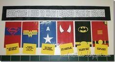 Superhero Teacher Appreciation Bulletin Board Idea Everything I need to know, I learned from my Super Heroes Superhero Bulletin Boards, School Bulletin Boards, School Classroom, Classroom Themes, Superhero Classroom Decorations, Library Decorations, Classroom Board, School Office, Future Classroom
