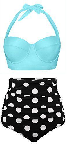 96f33cb7cd Angerella Women Vintage Polka Dot High Waisted Bathing Suits Bikini     For  more information
