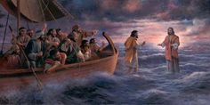 Be Not Afraid figurative religious biblical landscape ocean and sea artist proof giclee on canvas by James Seward, Archival Ink-Jet, James Seward Bible Pictures, Jesus Pictures, Jesus Pics, Christian Images, Christian Art, Religious Images, Religious Art, Peter Walks On Water, Who Is Jesus