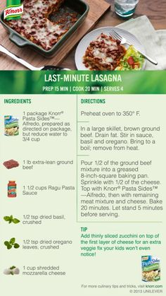 """I voted for Knorr® Last-Minute Lasagna in the #Knorr """"What's for Dinner Tonight?"""" sweepstakes. Enter for a chance to win big! NoPurNec18+ Ends 11/8/13 Rules: http://content.knorr.com/Content/Facebook/whats-for-dinner-sweepstakes-official-rules.html"""
