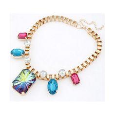 Blue Metal Gem Pendant Short Necklace 09061648-124 via Polyvore