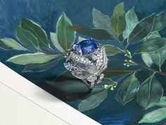 """Firmament apollinien"" laurel ring, a subtle combination of Ceylon sapphire and moonstone celestial blues. Hydrangea Colors, Diamond Tops, Chaumet, Ceylon Sapphire, Rose Leaves, Wedding Mood Board, Harry Styles, Handmade Jewelry, Brooch"